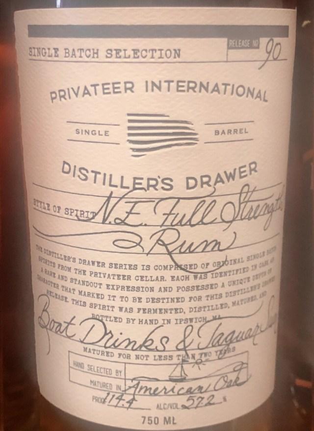 Privateer Distiller's Drawer Jaguar Sun & Boat Drinks 114.4 proof 750ml