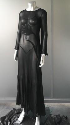 VINTAGE BLACK LEAF DRESS
