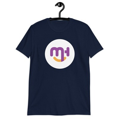 Meck Designs Fashionable Faces | White Circle Branded Front | Short-Sleeve Unisex T-Shirt