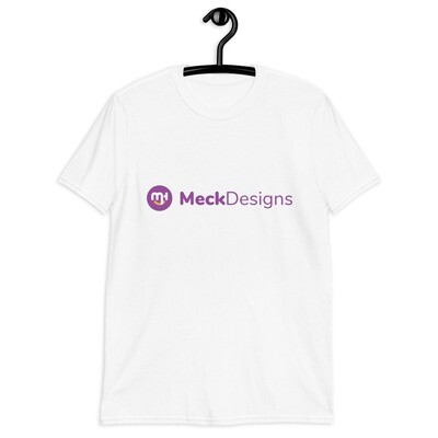 Meck Designs Fashionable Faces | Purple Horizontal Branded Front | Short-Sleeve Unisex T-Shirt