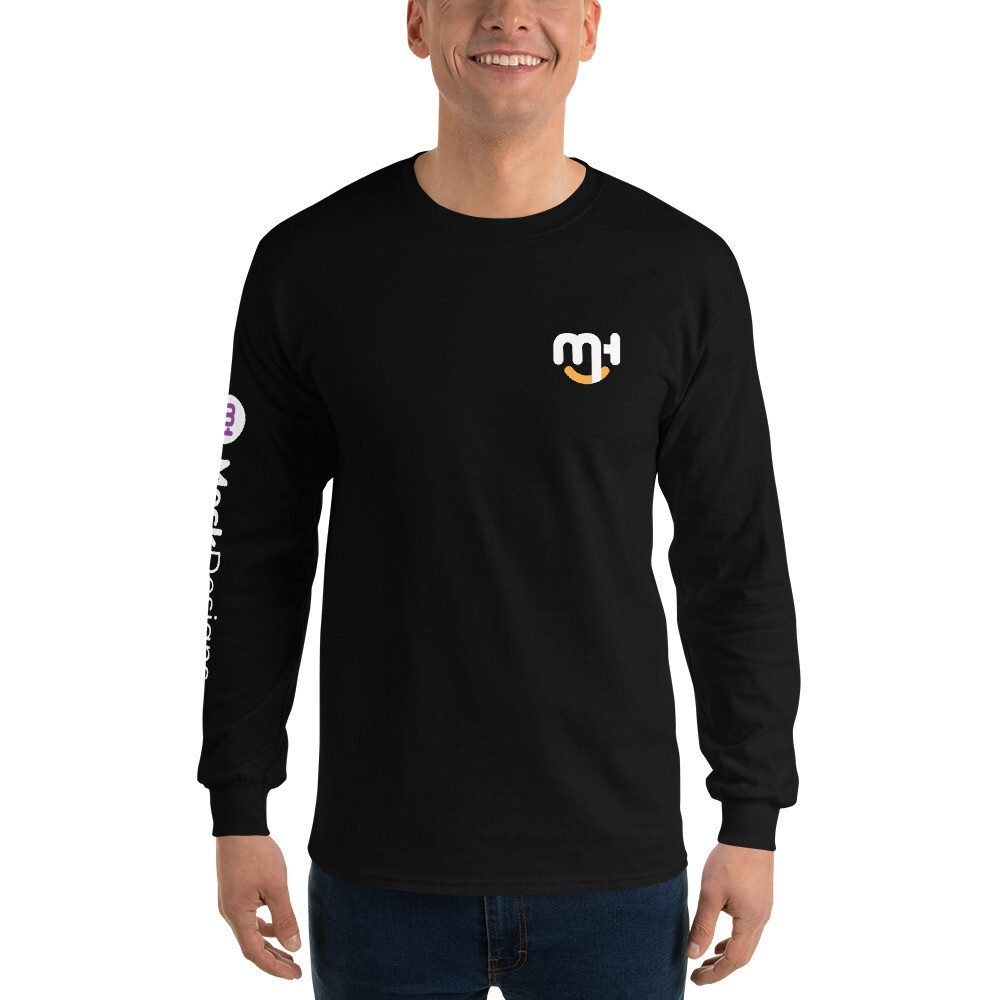 Meck Designs Fashionable Faces | White Smiling Emblem Front & Left Horizontal Branded Arm | Men's Long Sleeve Shirt