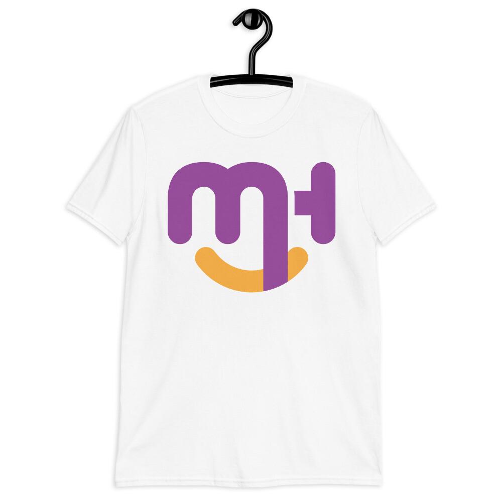 Meck Designs Fashionable Faces   Purple Smiling Emblem Branded Front   Short-Sleeve Unisex T-Shirt
