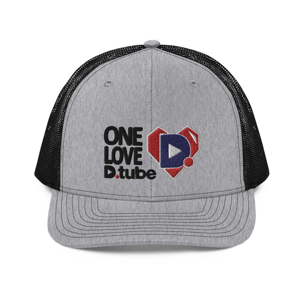 One Love D.Tube Black Embroidered Trucker Cap