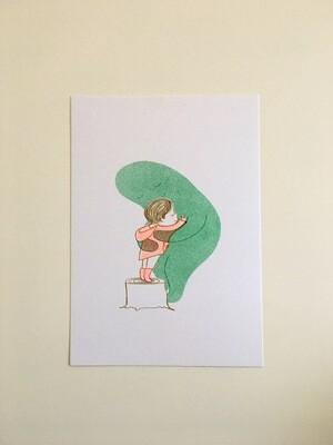 When Sadness Comes to Call / Hug - Small Risograph Print