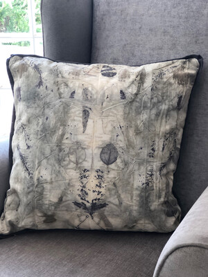 Cotton cushion cover hand dyed with Banksia, eucalyptus and fynbos. Dark grey linen backing and zip, cover only.  Size 60x60cm. One of a kind. Free Shipping Within south Africa