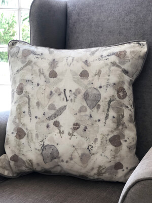 Cotton hand dyed cushion cover printed with eucalyptus and fynbos. Light grey linen backing and zip. One of a kind.  60x60cm cover only.  Free shipping within South Africa