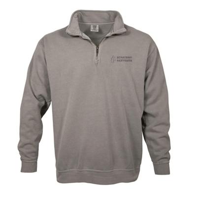 Branded 1/4 Zip Comfort Colors Sweater - Grey
