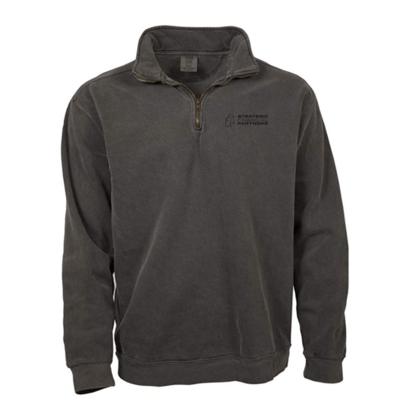 Branded 1/4 Zip Comfort Colors Sweater - Pepper