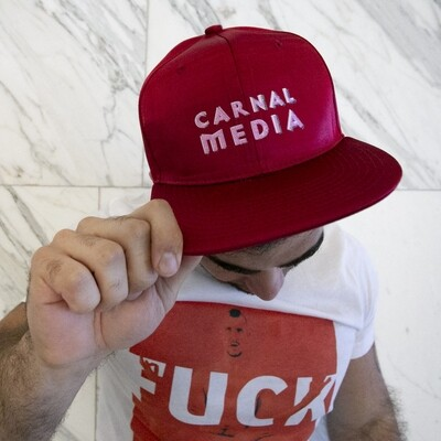 Carnal Media Hat in Red Satin