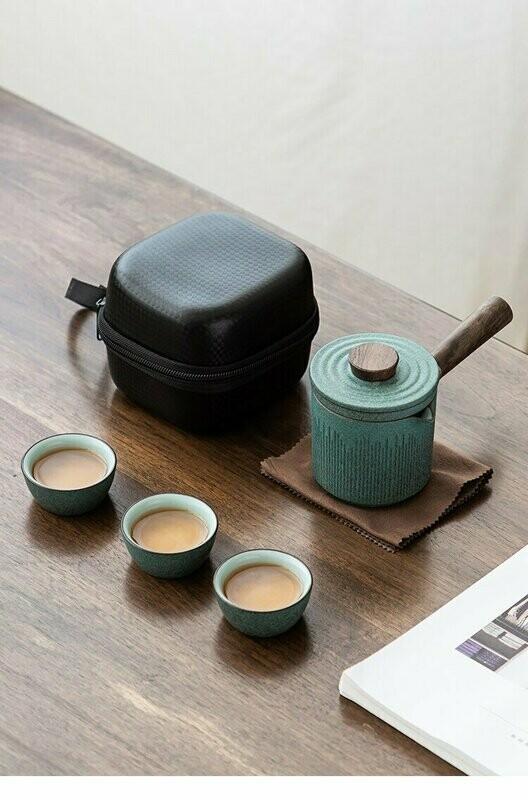 Ichigo-Ichie Green Ceramic Kyusu Travel Tea Set with 3 cups