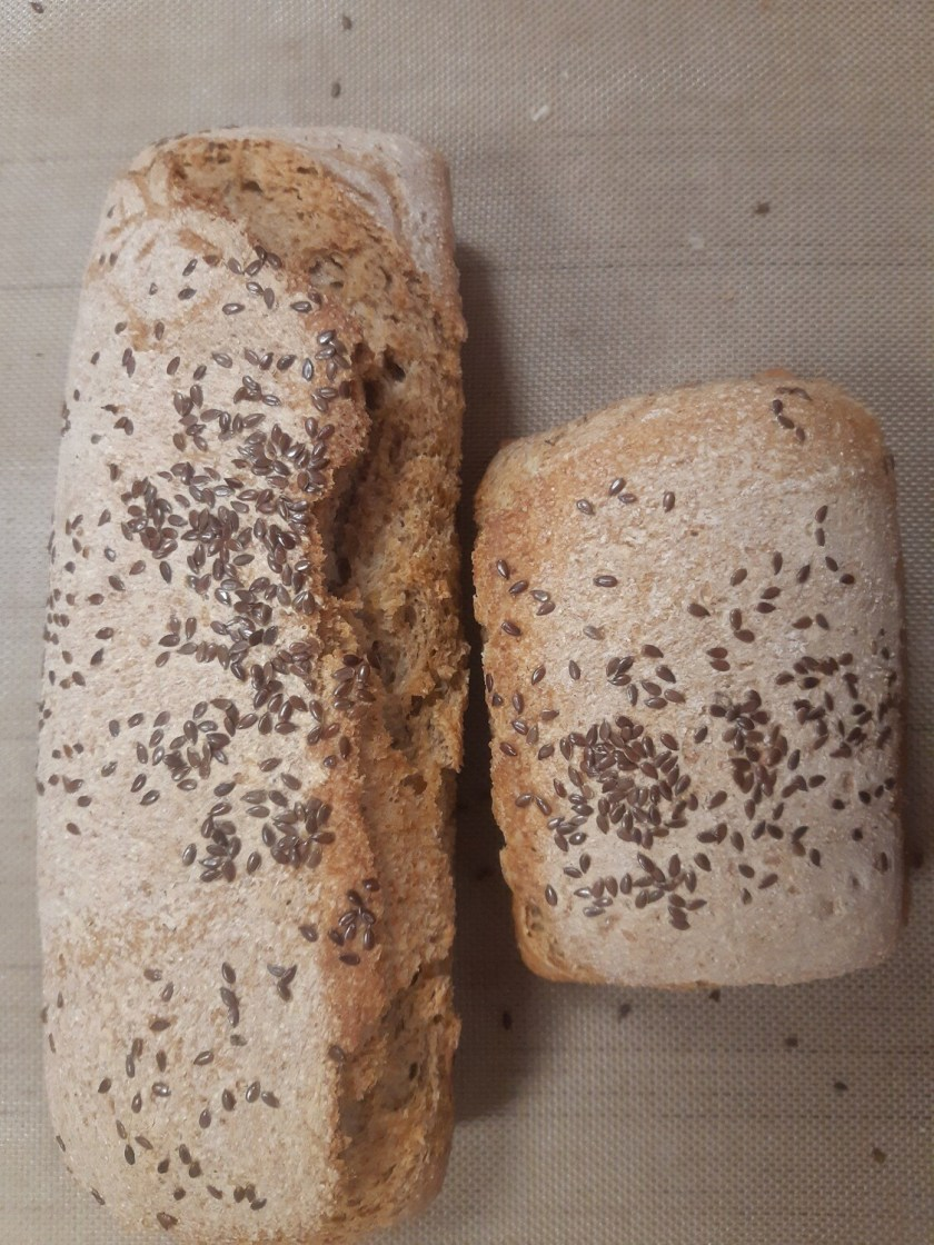 Pane integrale di grano tenero con semi di lino