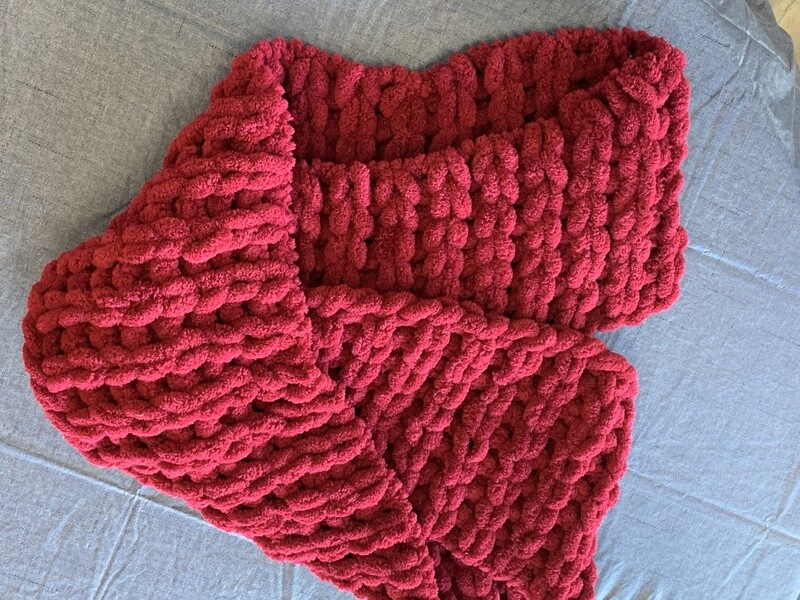 Burgundy Ribbed Infinity Scarf