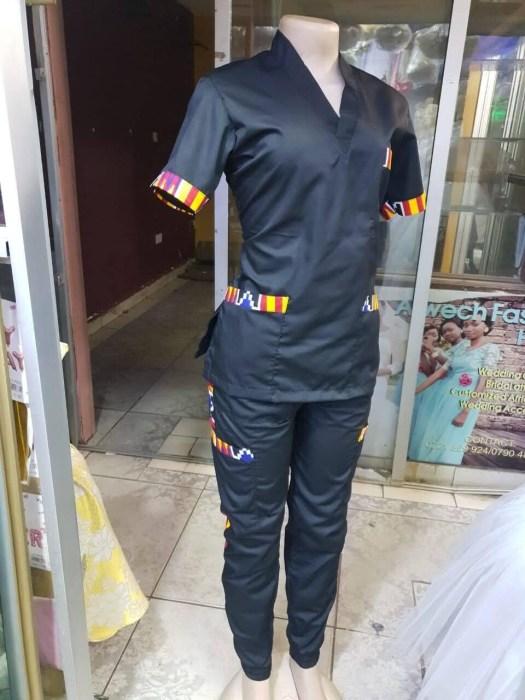 Ankara Scrub Top and Pants Set