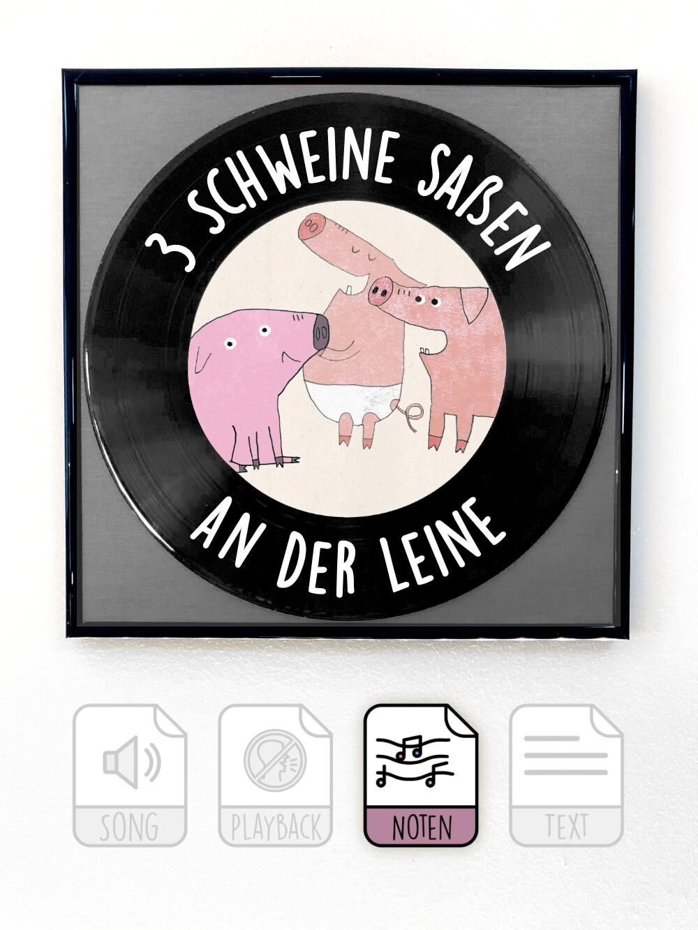 3 Schweine saßen an der Leine
