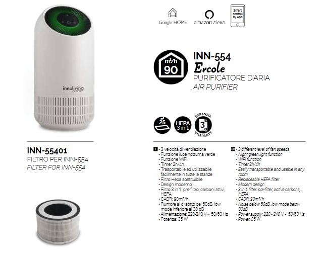 Innoliving Airpro INN-554 Purificatore d'aria Smart Wi-Fi
