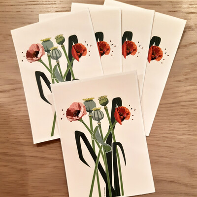 5 Printed Note Cards  - Poppies Illustration