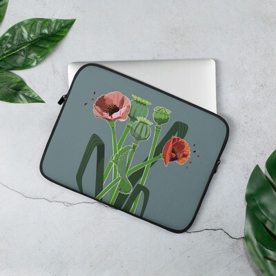 Laptop Sleeve with Poppies Print