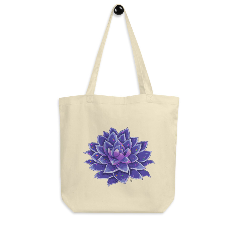 Eco Tote Bag - Purple Spotted Succulent Print