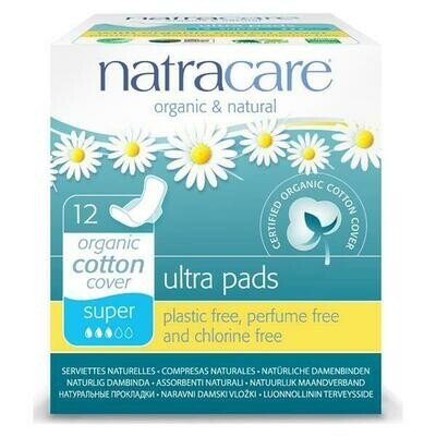Natracare Organic Cotton Ultra Pads Super With Wings 12