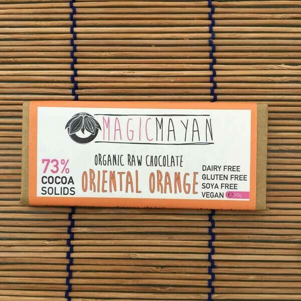 Magic Mayan Raw Organic Vegan Chocolate: Oriental Orange 73% 50g