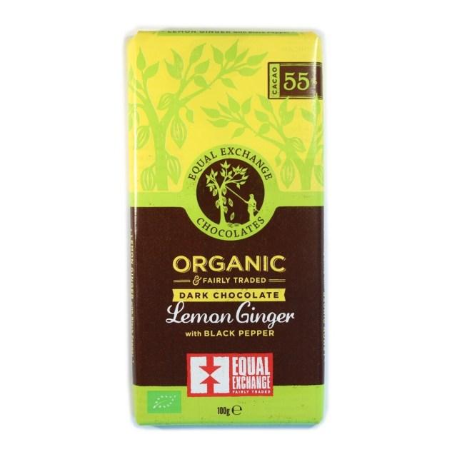 Equal Exchange Organic Lemon Ginger  & Pepper 55% Chocolate 100g