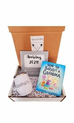 New Grandma Gift Set with Travel Coffee/Wine Tumbler   Pregnancy Announcement