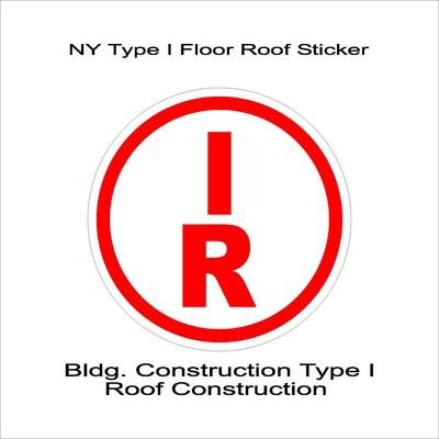 NY Type I Floor Roof Sticker