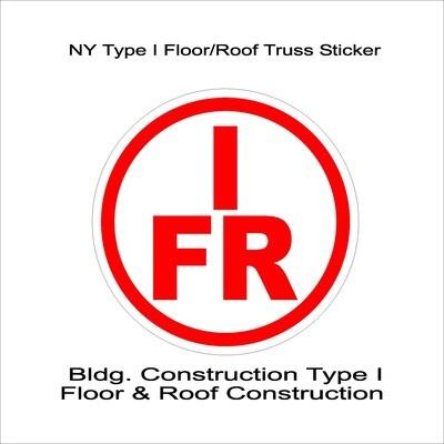 NY Type I Floor/Roof Truss Sticker
