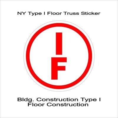 NY Type I Floor Truss Sticker