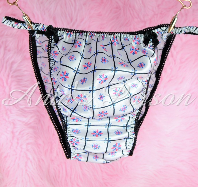 Sissy Silky Satin Mens Panties in Black Pink White Check Retro Print String bikini underwear
