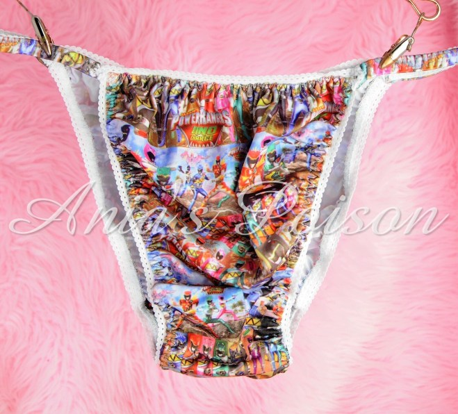 SISSY mens PANTIES Powerful Rangers  Childhood Print Spandex Stretch String Bikini