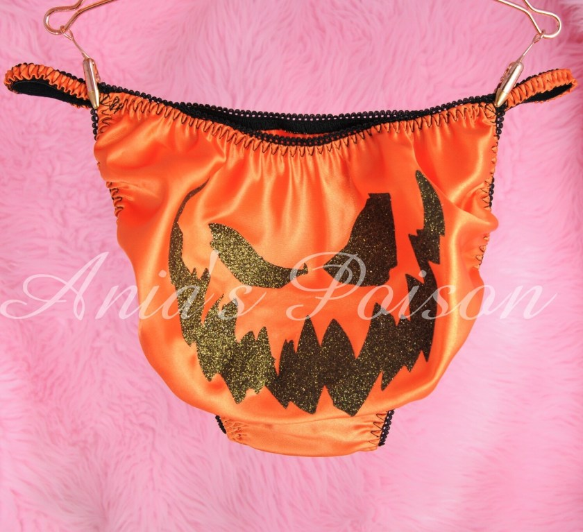 Ania's Poison jack-o-lantern carved pumpkin face Halloween 100% polyester SATIN string bikini sissy mens underwear panties