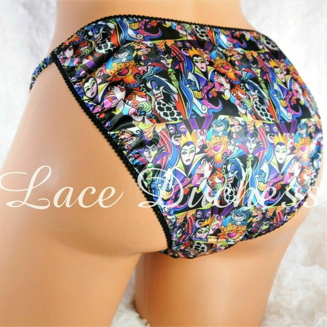 Lace Duchess Classic 80's cut Villain Rare Character movie print satin wet look panties sz 5 6 7