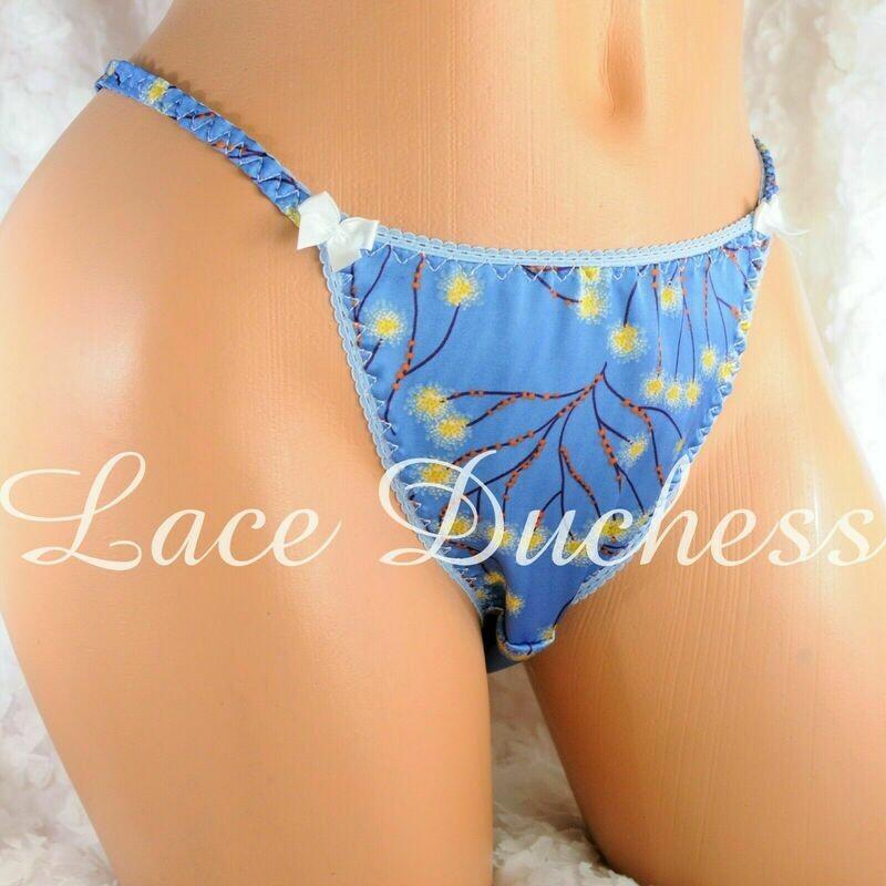 Lace Duchess Classic 80's cut satin Blue Asian Print panties sz 5 6 7