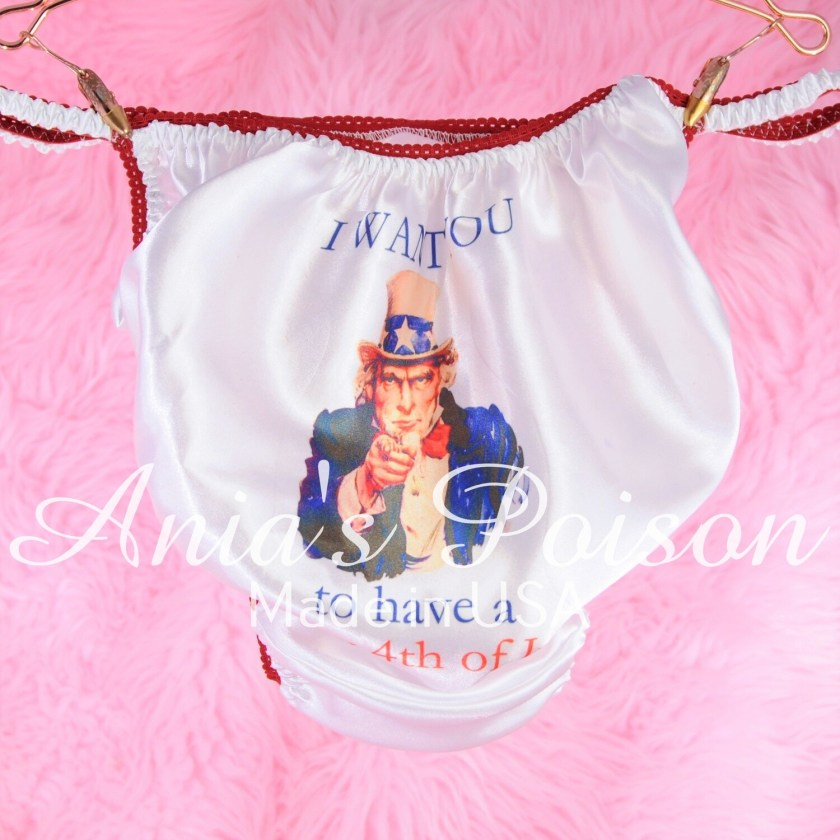 July 4th Uncle Sam limited edition red white and blue shiny Satin string bikini panties