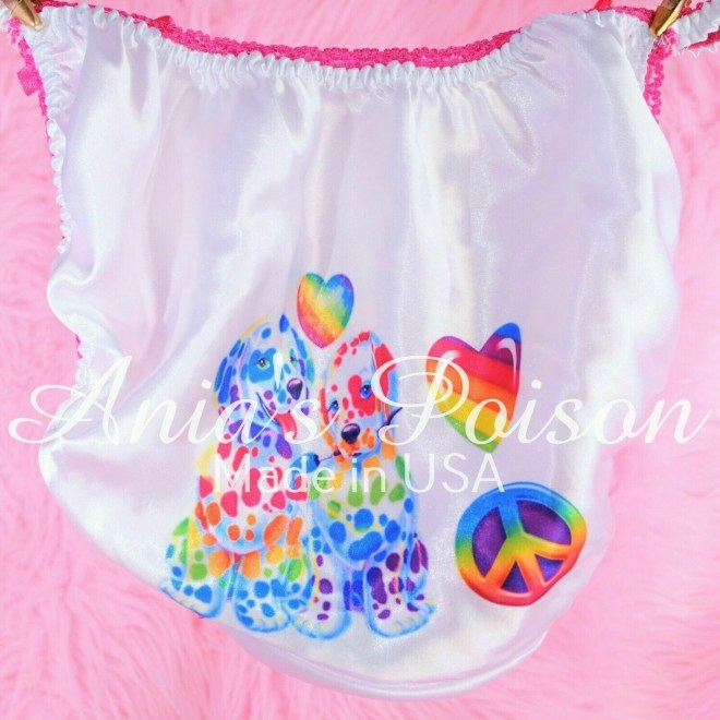 Rare Lisa Frank Style Unicorn, Puppies classic shiny Satin string bikini Mens panties - Sissy Princess