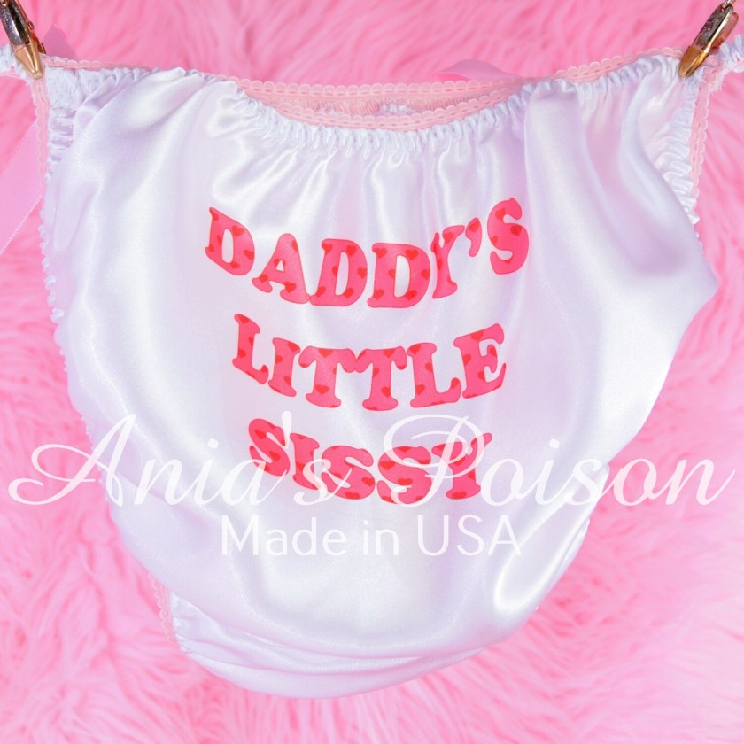 Rare classic Daddy's Little Sissy Pink Heart Valentines Day text string bikini panties
