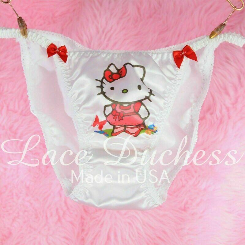 Lace Duchess Classic 80's cut Hello Kitty Garden Cat Character movie print satin wet look panties sz 5 6 7