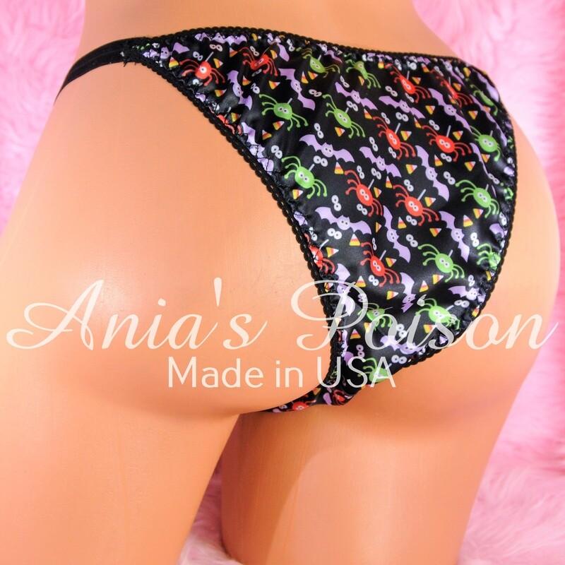 Halloween Print Spiders Novelty Print 100% polyester SATIN Brazilian bikini sissy mens underwear panties