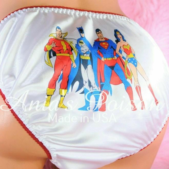 Rare Vintage Rateo Super Hero SuperMan BatMan Super Wonder Woman Satin string bikini Mens panties - Sissy Princess