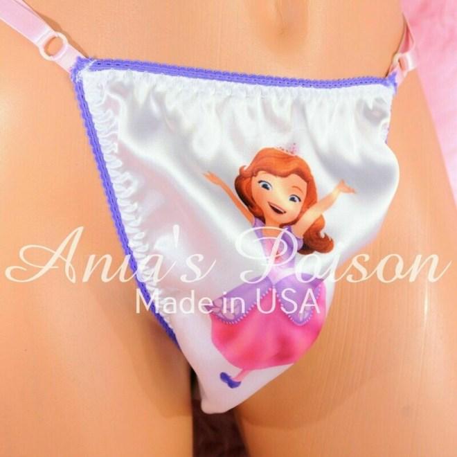 Rare Pink White blue Princess Sophie Adjustable Sides OS Mens THONG panties