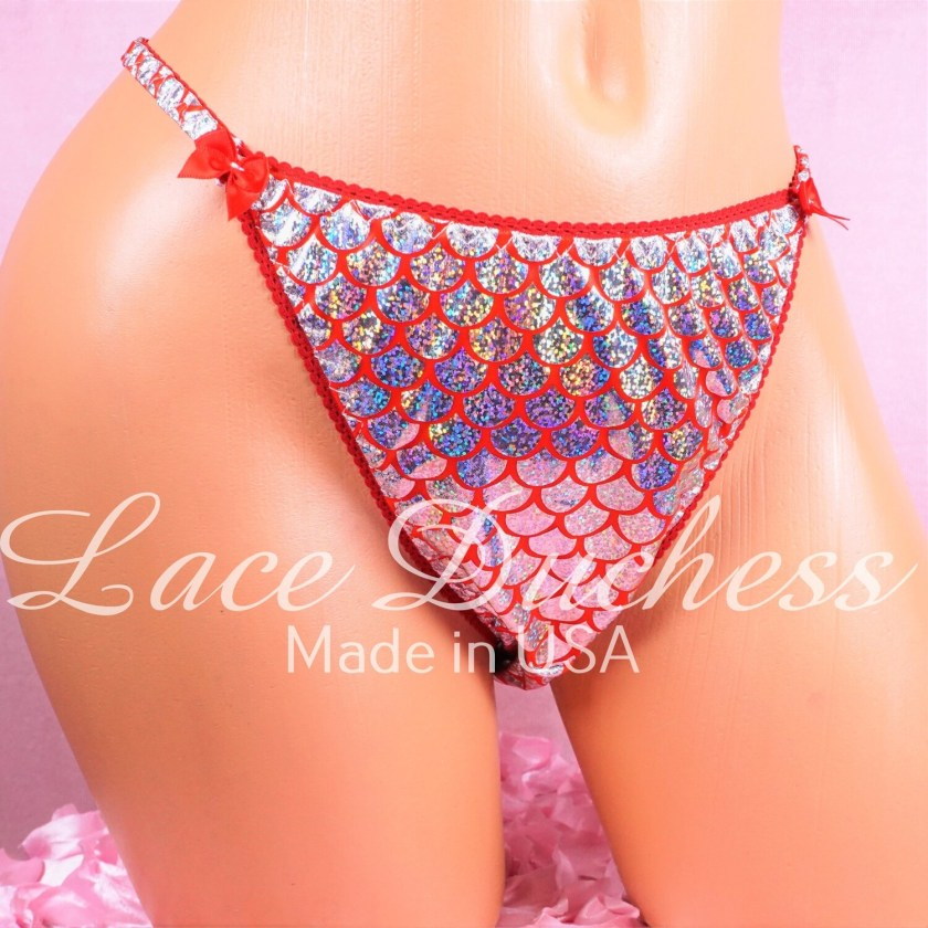 Lace Duchess Classic 80's cut Christmas EXCLUSIVE Shiny Foil Scales wet look panties sz 6 7 ONLY
