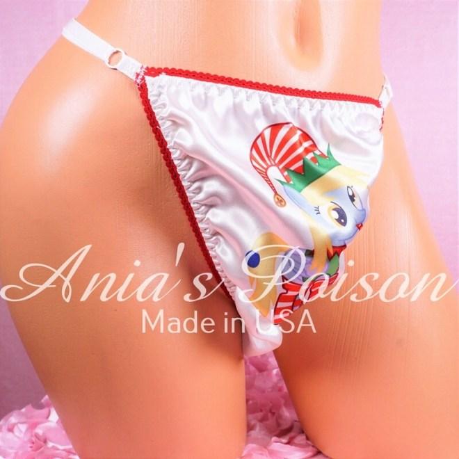 CHRISTMAS Adorable Elf Pony Holiday Thong adjustable satin sissy panties!
