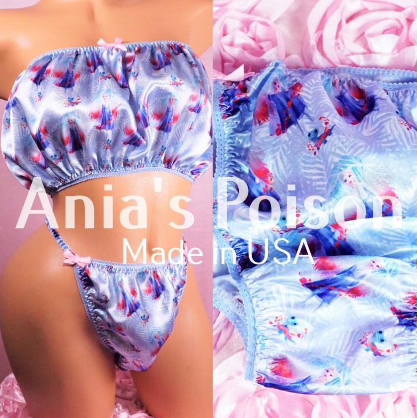 Ania's Poison Christmas Blue Ice Princess Winter Print 100% polyester silky soft string bikini sissy mens underwear panties