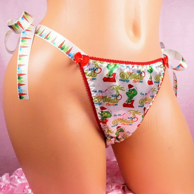 Lace Duchess Classic 80's cut Green Rare Christmas Grouch Character movie print satin wet look panties sz 5 6 7
