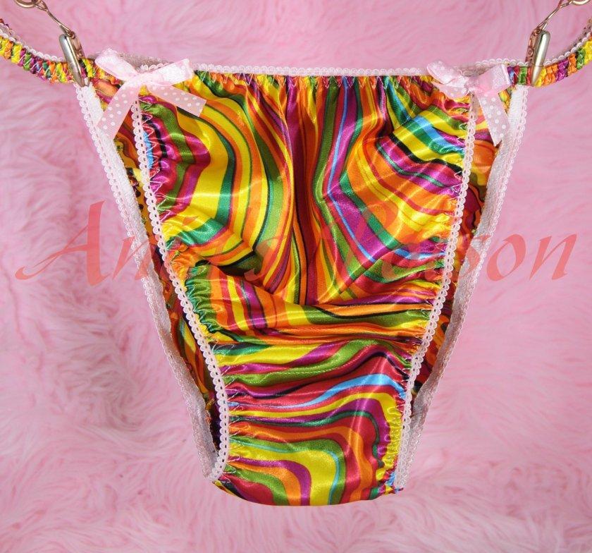 Candy Lollipop Swirl Vintage style rainbow Pride 100% polyester string bikini sissy mens underwear panties