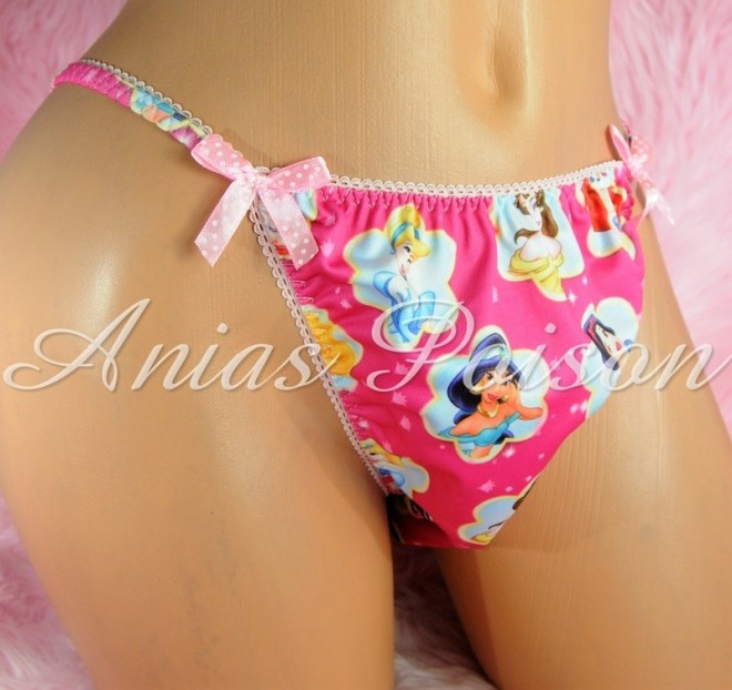 Rare Novelty Character print Spandex Stretch string bikini Hot Pink Princess Panties