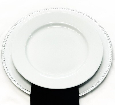 "Plate- 10.5"" White Solid Dinner Plate"