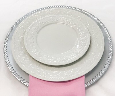 "Plate- 7.5"" White with Design Salad Plate"