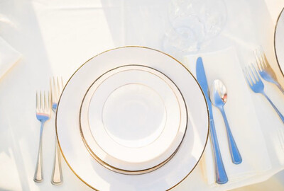 "Plate- 7"" Ivory with Gold Trim Salad Plate"